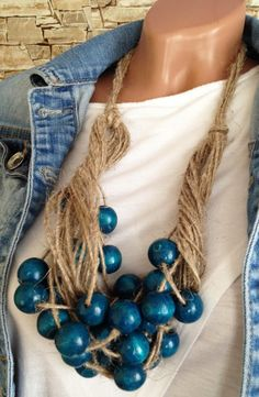 #linen #wood #beaded #necklace #bohemian #etsy