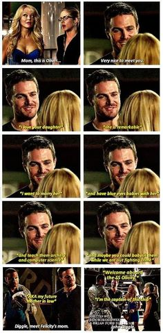 Oliver already met his mother-in-law, now he only needs to meet his father-in-law... #Arrow #Olicity