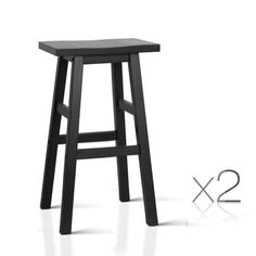 Set of 2 Wooden Backless Black Bar Stools - Made from quality beech wood, the bar stool is designed with thick seats and legs for a very solid look and feel. Comes in a natural, black or white. FREE Shipping:For All Deliveries Within Australia