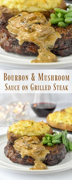 Bourbon Mushroom Sauce on Grilled Rib Eye Steak - a richly flavoured sauce to compliment the flavour of a top quality prime beef steak. #Sponsored