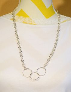 Three Large Circle Linked Silver 28 Inch Necklace with Swarovski Crystal Clasp