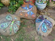 mosaic rocks with butterflies and dragonflies