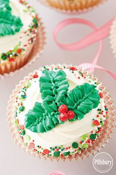 Holly Leaves Cupcakes from Pillsbury™ Baking