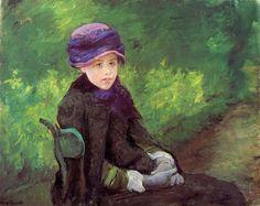 Susan Seated Outdoors Wearing a Purple Hat,   Mary Cassatt - circa 1881