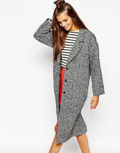 Outerwear: Long wool coat (tweed)