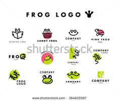 Vector simple flat logo with frog character. Cute friendly frog illustration. Logo, insignia template. Animal, pet store, children toys shops, zoo market, eco company, outdoor service and business.