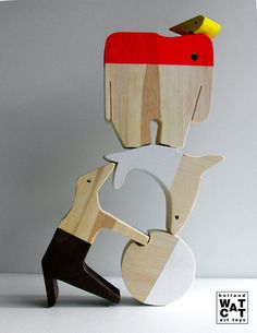 Circus Animals Act XL stacking wooden toy by WatermelonCatCompany, €35.00