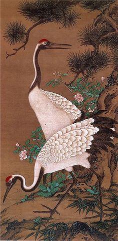 WATANABE Shuseki, Edo period (17th century), Japan 双鶴図 渡辺秀石筆 絹本着色 More At FOSTERGINGER @ Pinterest
