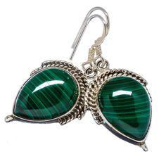 """Malachite 925 Sterling Silver Earrings 1 1/2"""" EARR331447"""
