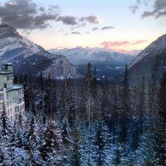 View of Canadian Rockies from Rimrock Hotel - Banff, Alberta, Canada