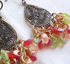 Brass Beaded Earrings Fruit Salad Shaggy Loops by cutterstone, $27.00