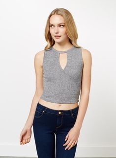 Rib Keyhole Crop - Miss Selfridge Crop Tops, Tank Tops, Miss Selfridge, Basic Tank Top, Asos, Shopping, Clothes, Collection, Women