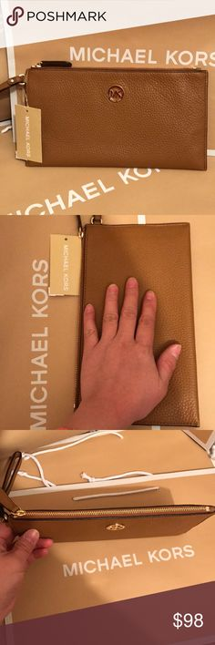 🍥mk clutch🍥acorn color Authentic brand new with tag. Acorn color, large size clutch! Gold hard wear, fit any iPhone or any phone and other keys, small make up, pen.⭐️ Michael Kors Bags Clutches & Wristlets