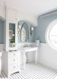 **love the color**Rossi House, Laurie Rossi Interiors - Traditional - Bathroom - New York - Tom Grimes Photography White Bathroom Interior, White Bathroom Tiles, Bathroom Paint Colors, Small Bathroom, Bathroom Ideas, Black And White Bathroom Floor, Bathroom Wainscotting, Downstairs Bathroom, Wainscoting