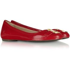 Moschino Love Moschino - Red Patent Ballerina Shoes ($252) ❤ liked on Polyvore