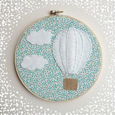 OOAK Hot air ballon with clouds hoop art on vintage fabric on Etsy, $20.00
