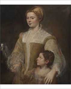 """Photograph-Portrait of a Lady and her Daughter, c. 1550. Creator: Titian (1488-1576)-10""""x8"""" Photo Print expertly made in the USA"""
