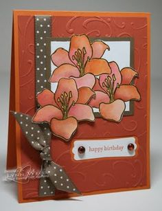 LW Designs: Autumn Lillies. LOVE the color combo used here: Pumpkin Pie, Really Rust, Soft Suede & Whisper White