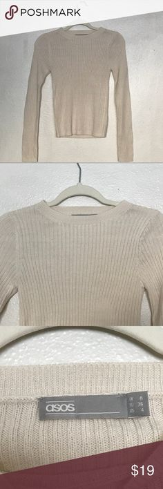 ASOS Cream Ribbed Crewneck Sweater -never worn but it didn't come with tags so I couldn't return it  -same size as the model in the photo is wearing so please use those for reference. -a simple sweater is an essential every girl should own  -please understand I'm trying to gain some of my money back from this item  -looks small on the hanger but I have this sweater in black and it does stretch out a bit more when it's worn ASOS Sweaters Crew & Scoop Necks