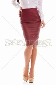 PrettyGirl Desire Burgundy Skirt, women`s skirt, zipper fastening, ecological leather Burgundy Skirt, Product Label, Office Fashion, Dusty Pink, Clothing Items, Zipper, Fall, Brown, Colors