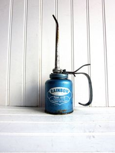 Vintage Oil Can Baby Blue Rainbow Pump Oiler