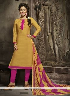 Hina Khan Yellow Cotton Churidar Designer Suit Description We unfurl our the intricacy and exclusivity of our creations highlighted in this Hina Khan yellow cotton churidar designer suit. Beautified and stylized with lace work to give you an attractive look. Comes with matching bottom and dupatta
