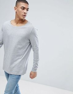 d81bea7ed711 ASOS Longline Long Sleeve T-shirt With Scoop Neck Latest Clothes For Men
