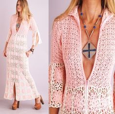 Vtg Vintage 60s PINK CROCHET Lace Cutout Sheer Bell Sleeve PLUNGING V Supermodel Maxi DRESS via indiecultvintage