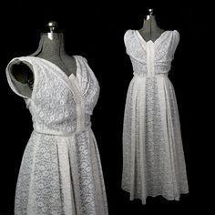 Vintage 30s / 40s Lace Gauze Wedding Dress, Tea Length L / XL. $650.00, via Etsy.