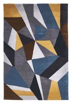 and this Hand-tufted Blue Grey Yellow Wool Rug  - Rug Emporium - 1