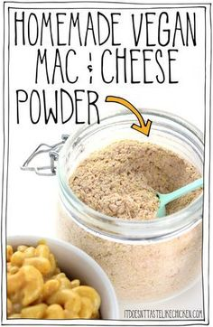 Add the ingredients to a jar and shake for s… Homemade Vegan Mac & Cheese Powder! Add the ingredients to a jar and shake for shelf stable DIY boxed mac and cheese. Vegan Cheese Recipes, Vegan Sauces, Vegan Foods, Vegan Dishes, Dairy Free Recipes, Vegan Vegetarian, Gluten Free, Fast Recipes, Healthy Recipes