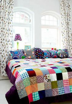 When you say patchwork the first thing that comes to mind is Grandma's patchwork quilt. While vintage quilts are lovely, the patchwork I a. Quilt Inspiration, Interior Inspiration, Color Inspiration, Decoration Shabby, Patchwork Quilting, Patchwork Bedspreads, Patchwork Blanket, Quilt Making, Sweet Home