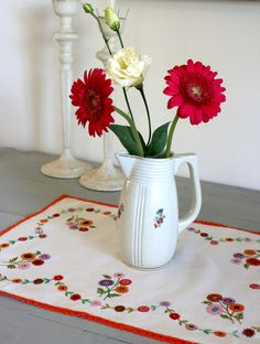 French Vintage Hand Embroidered Linen Tray Cloth. €12.00, via Etsy.