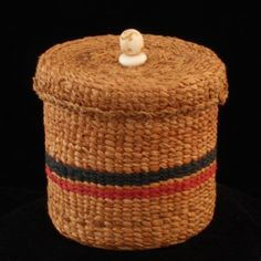 Lided Cedar Bark Basket with Ivory Bead Handle Arctic Spirit Gallery - Native Art Gallery in Ketchikan Alaska Ketchikan Alaska, Loom Weaving, Native Art, Gourds, Basket Weaving, Nativity, Baskets, Coast, Bead