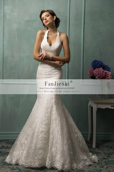 Find More Wedding Dresses Information about Vestido De Noiva Halter Neck Venice Appliques Soft Lace Fitted Slim Mermaid Sexy Bridal Wedding Dress Free Shipping,High Quality wedding dresses at discount prices,China wedding dress online store Suppliers, Cheap dress designs for weddings from Suzhou FanJieShi Wedding Dress Co., Ltd. on Aliexpress.com
