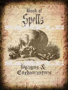 Halloween Book Cover of Spells Potions and Enchantments Printable Graphic
