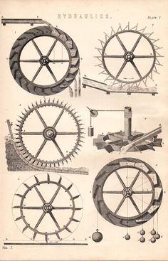 1868 PRINT ~ HYDRAULICS ~ WATER WHEEL DETAIL WORKINGS ETC   eBay
