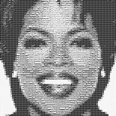 Scott Blake creates portraits of iconic people using things that pertain to their lives. This portait of Oprah Winfrey, for instance, is made from book covers of books from her book club.
