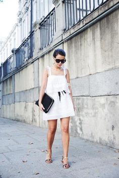 Little White Dresses - Street Style Looks White Dress Summer, Little White Dresses, Summer Dresses, Who What Wear, Mango Clothing, Silky Dress, Chic Dress, Looks Style, Spring Summer Fashion