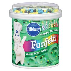 Pillsbury Vanilla Frosting, Funfetti Vibrant Green, Ounce (Pack of Vanilla Frosting, Vanilla Flavoring, Chocolate Frosting, Plain Cake, Funfetti Cake, Baking Supplies, Baking Tools, American Food, No Bake Treats