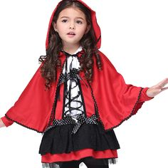 2017 Newest Halloween Cosplay Girl Red Little Red Cap Devil Cloak Cosplay Animation Costume Dress Novelty Children Sets Cs246 #Affiliate