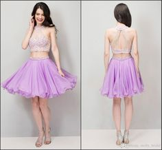 2016 New Arrival Lavender Homecoming Dresses Two Piece See Though High Neck Crystal Beading Sheath Chiffon Short Prom Dress Cheap Party Gown Beautiful Short Dresses Cheap Short Homecoming Dresses From Molly_bridal, $85.47  Dhgate.Com