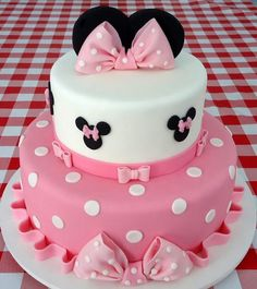 Dummy cake, two tier Minie Mouse cake polka dots and big pink bows made for my c. Dummy cake, two tier Minie Mouse cake polka dots and big pink bows made for my c. Bolo Da Minnie Mouse, Minnie Mouse Birthday Cakes, Mickey Mouse Cupcakes, Minnie Cake, Minnie Mouse Baby Shower, Mickey Cakes, Baby Birthday Cakes, Pink Minnie, Mickey Birthday