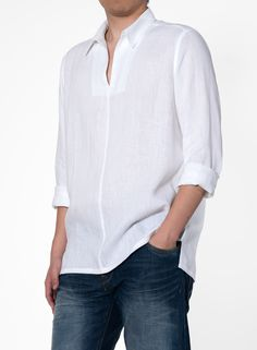 A handsome collarless shirt crafted from lightweight linen with classically designed giving an old school looks appeal. Indian Men Fashion, White Fashion, Nehru Shirt, Gents Kurta, Bespoke Shirts, White Linen Shirt, Natural Clothing, Summer Shirts, Casual Shirts