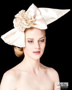 Bridal hat fascinator silk bow LE BOW adorned with silk roses