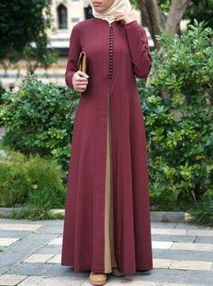 Contrast Godet Panel Abaya - Real Time - Diet, Exercise, Fitness, Finance You for Healthy articles ideas Islamic Fashion, Muslim Fashion, Abaya Fashion, Fashion Outfits, Womens Fashion, Girl Fashion, Hijab Style Dress, Mode Abaya, Abaya Designs