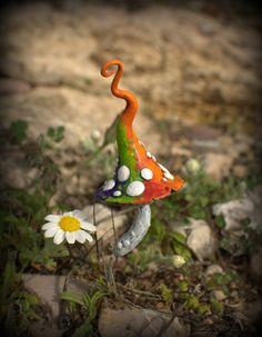 Multicolor fantasy mushroom polymer clay toadstool Home by Petradi