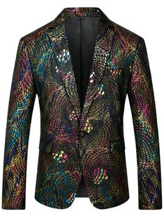 One Button Scales Pattern Colorful Blazer - COLORMIX 3XL