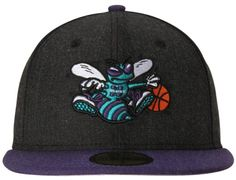 Charlotte Hornets Black Heather Action 59Fifty Fitted Baseball Cap by NEW ERA x NBA