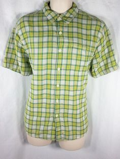 The North Face Shirt Size Medium Green Yellow White Plaid Lined Short Sleeve #TheNorthFace #ButtonFront